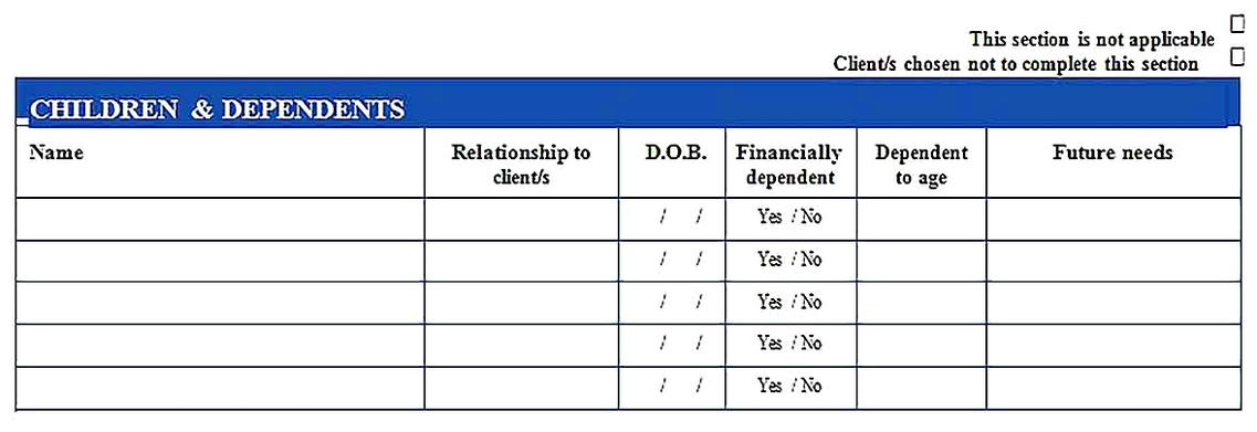 Templates for Financial Needs Analysis 3 Sample Copy