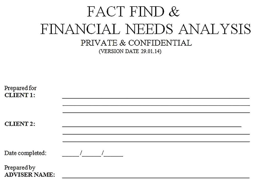Templates for Financial Needs Analysis Sample Copy