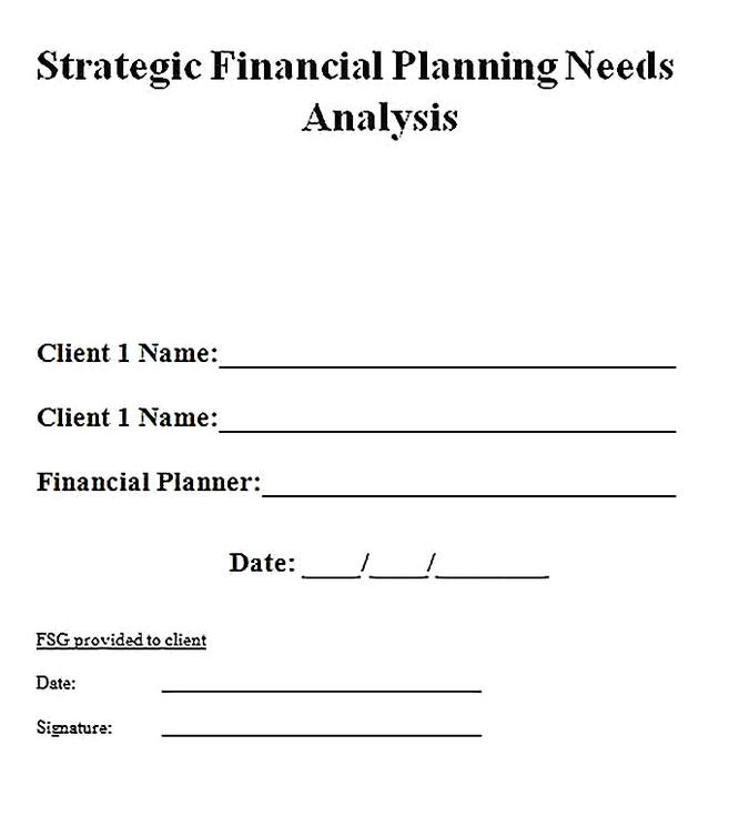 Templates for Financial Planning Needs Analysis Sample