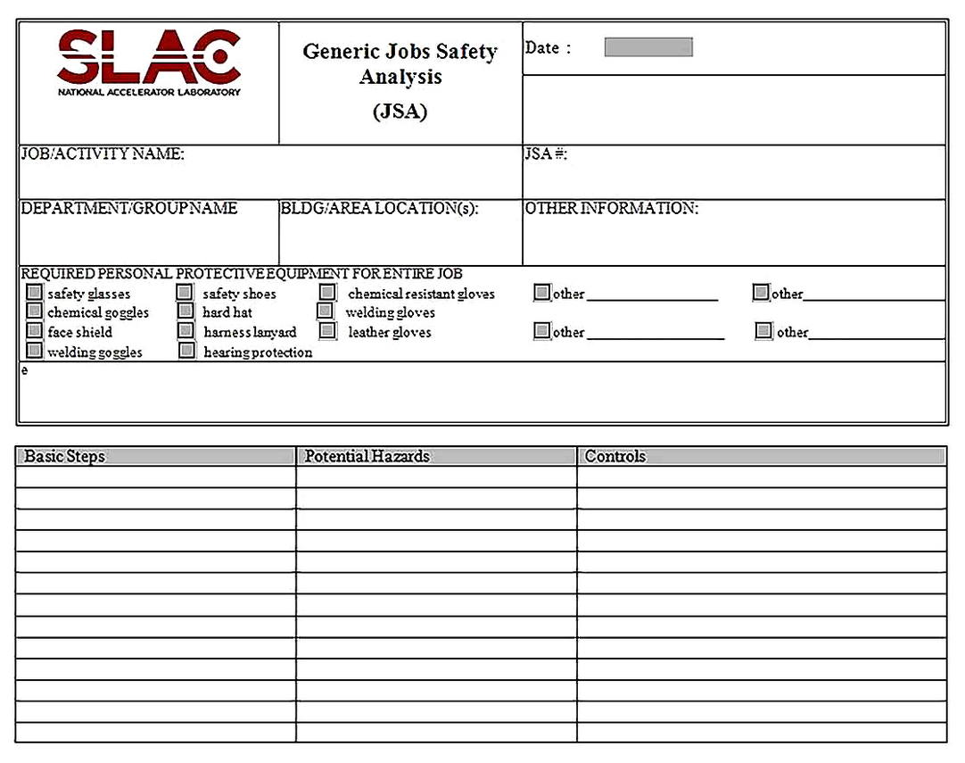 Templates for Generic Job Safety Analysis Form Sample
