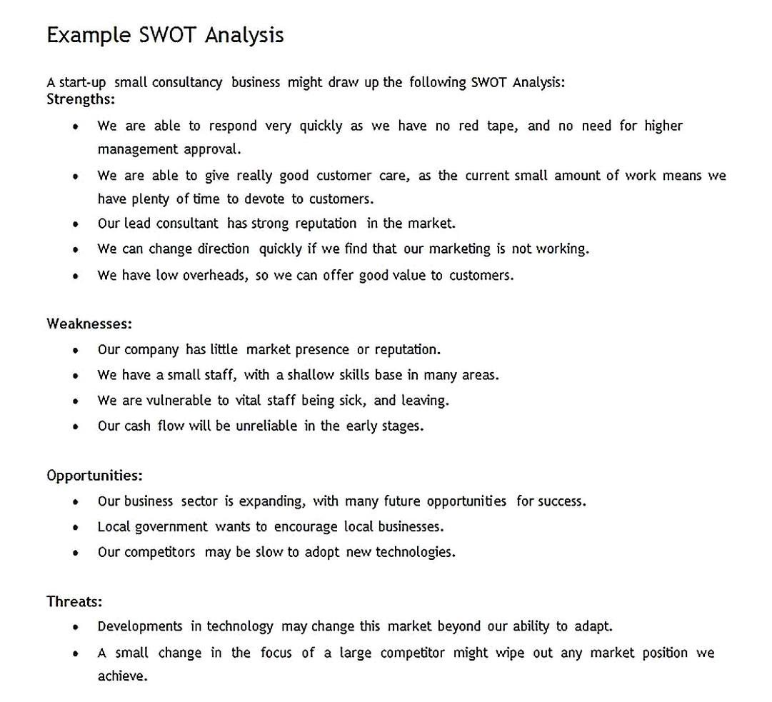 Templates for New Business SWOT Analysis Sample