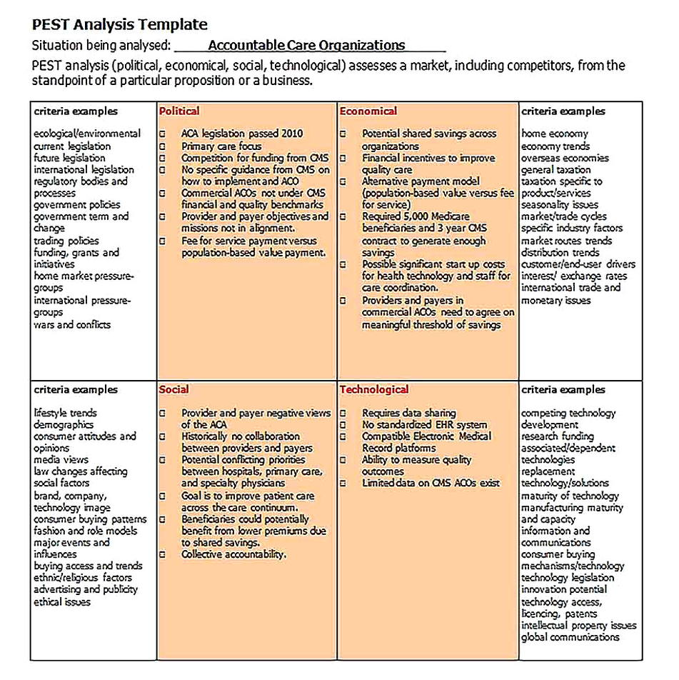Templates for PEST Analysis Sample