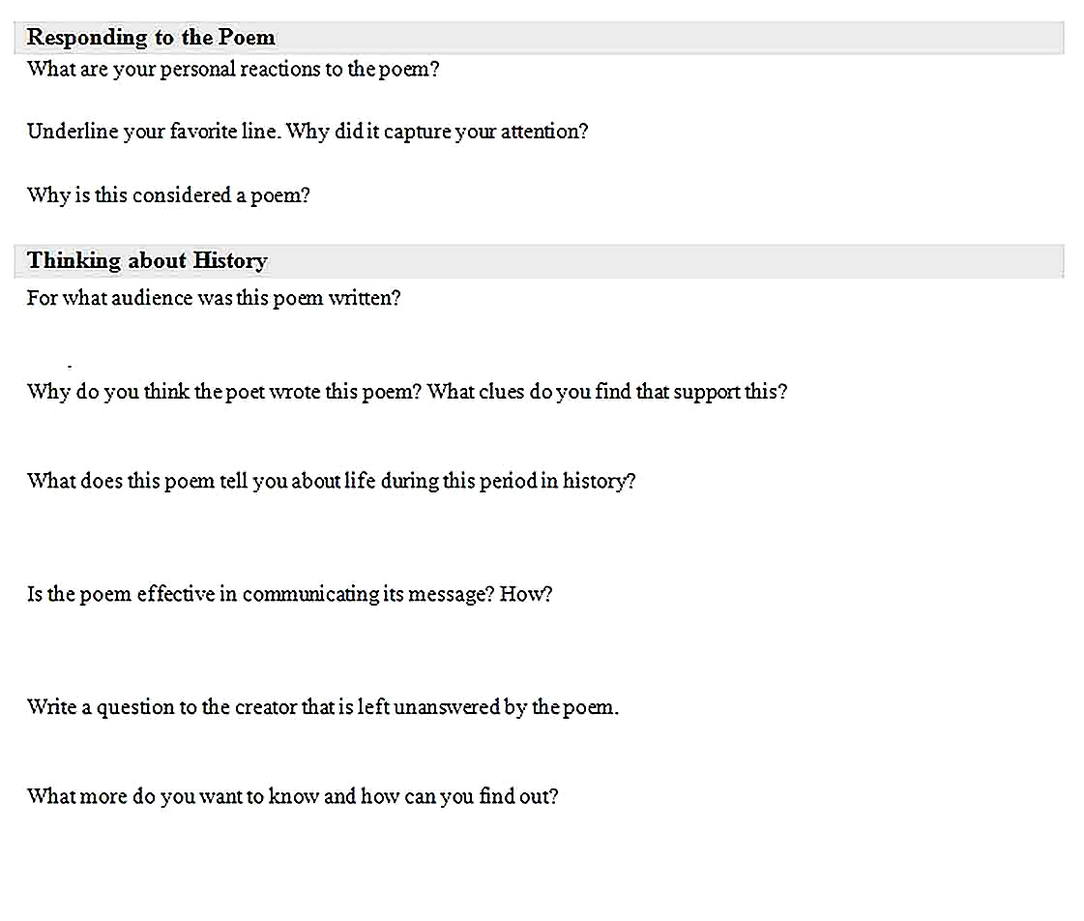 Templates for Poem Analysis 2 Sample
