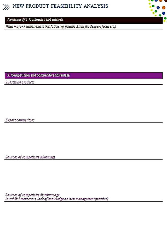 Templates for Product Feasibility Analysis 5 Sample