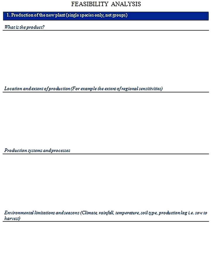 Templates for Product Feasibility Analysis Sample