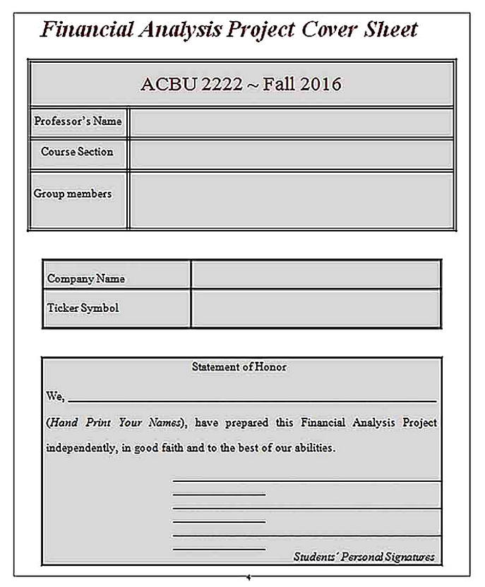 Templates for Project Accounting Financial Analysis Sample
