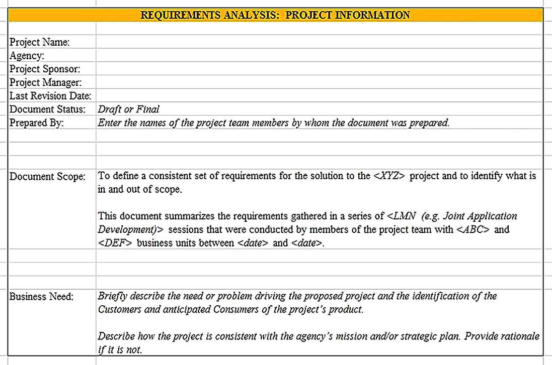 Templates for Project Requirements Analysis Sample