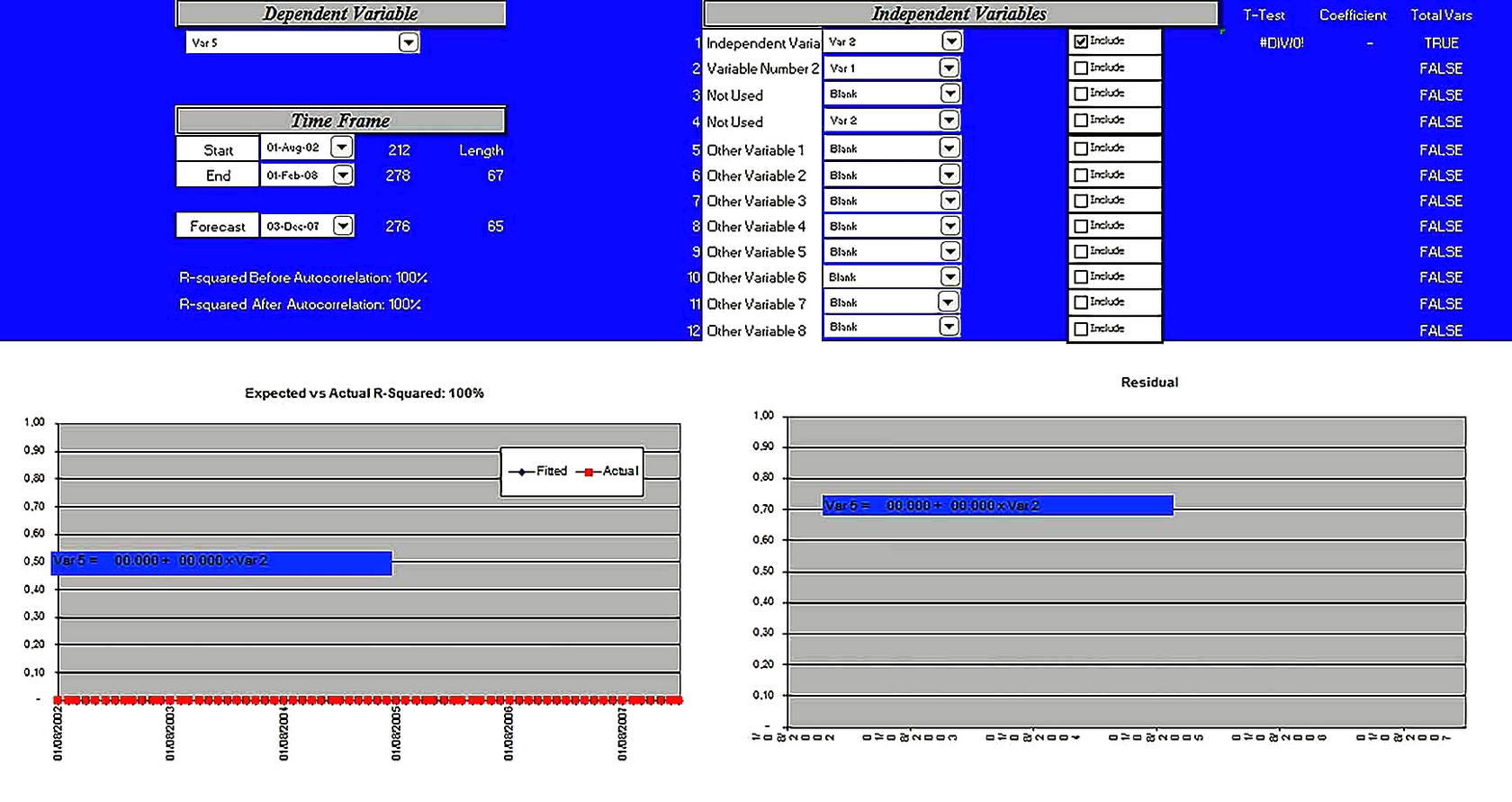 Templates for Regression Analysis Excel 3 Sample