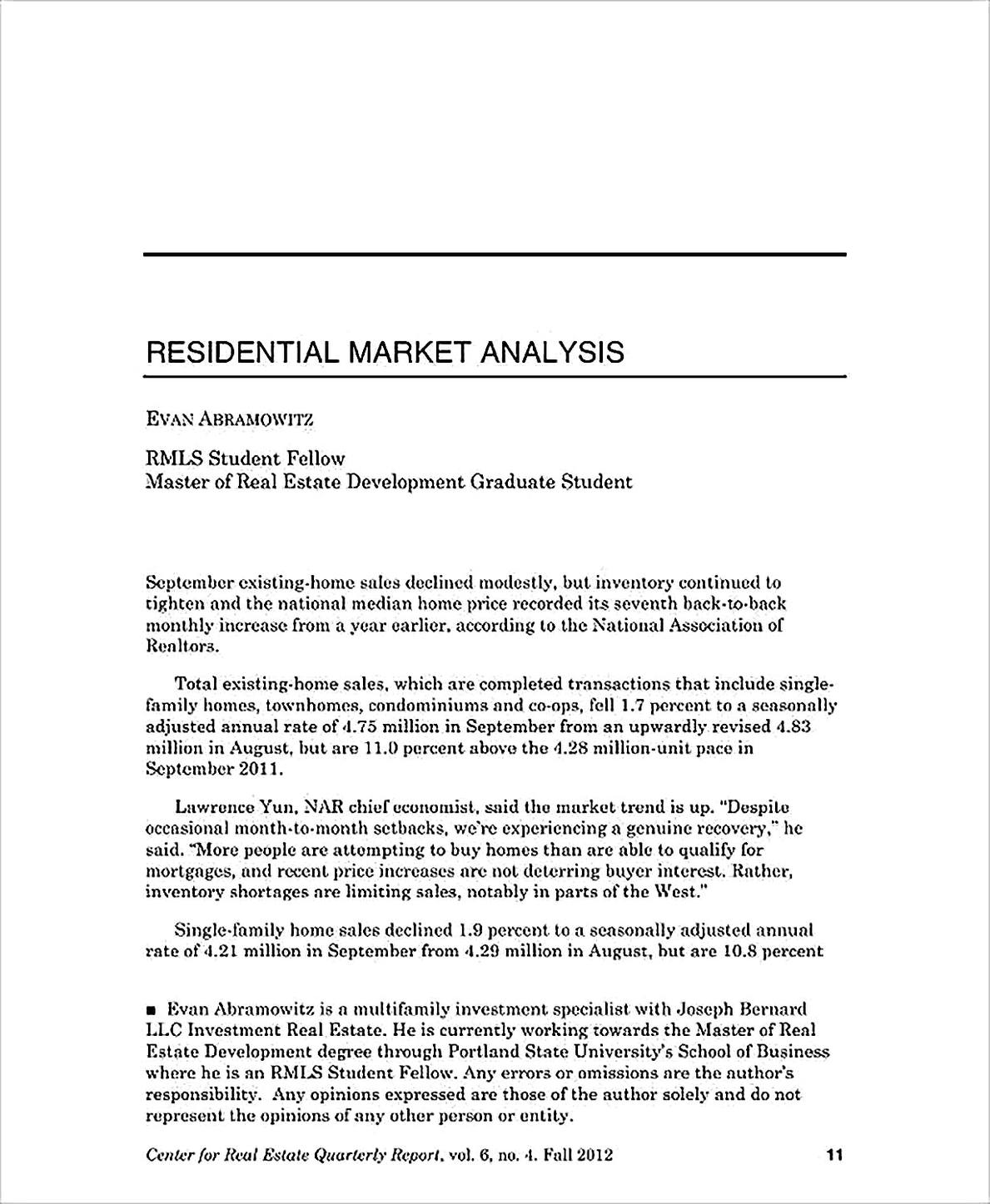 Templates for Residential Market Analysis Sample