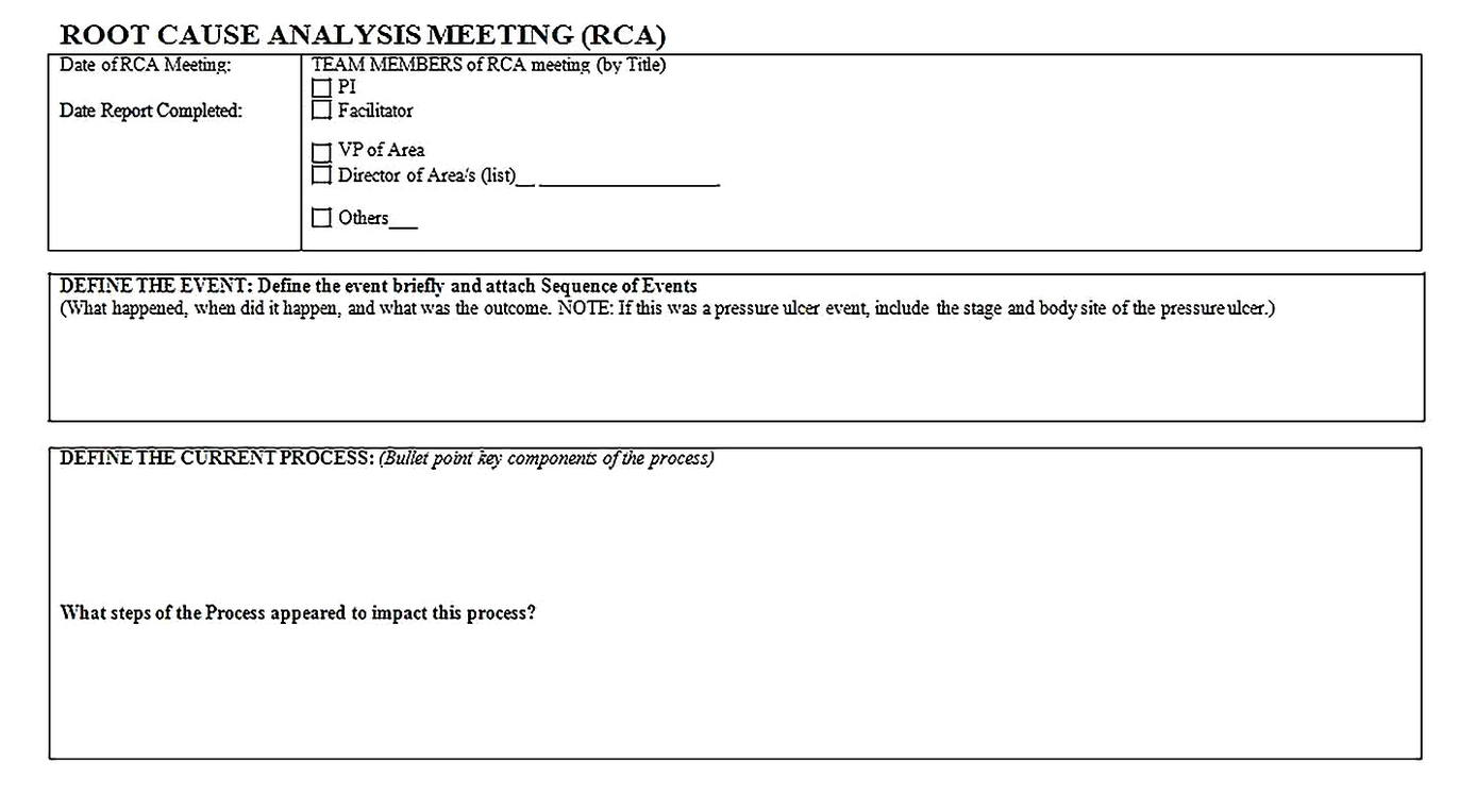 Templates for Root Cause Analysis Meeting Printable2 Sample