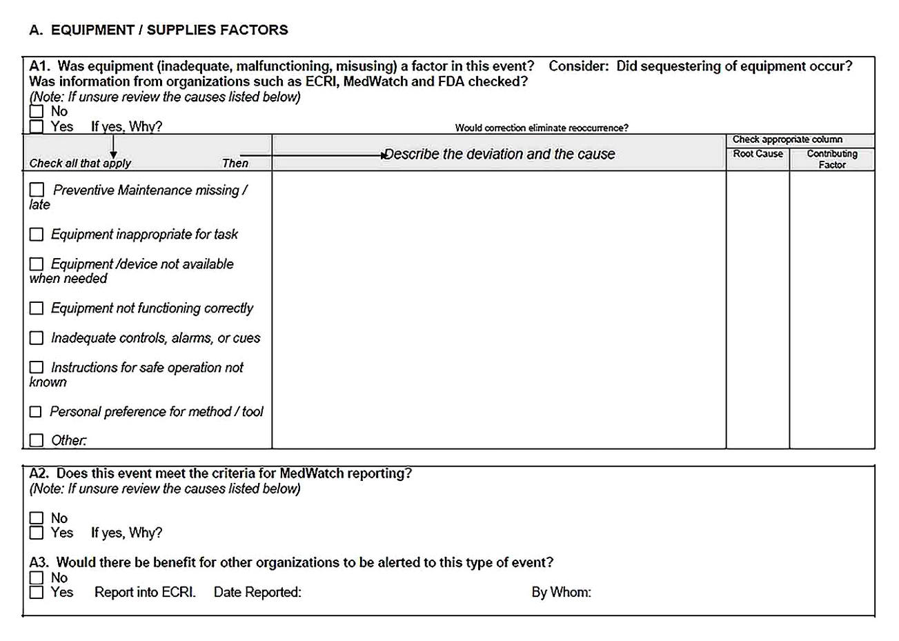 Templates for Root Cause Analysis Meeting Printable3 Sample