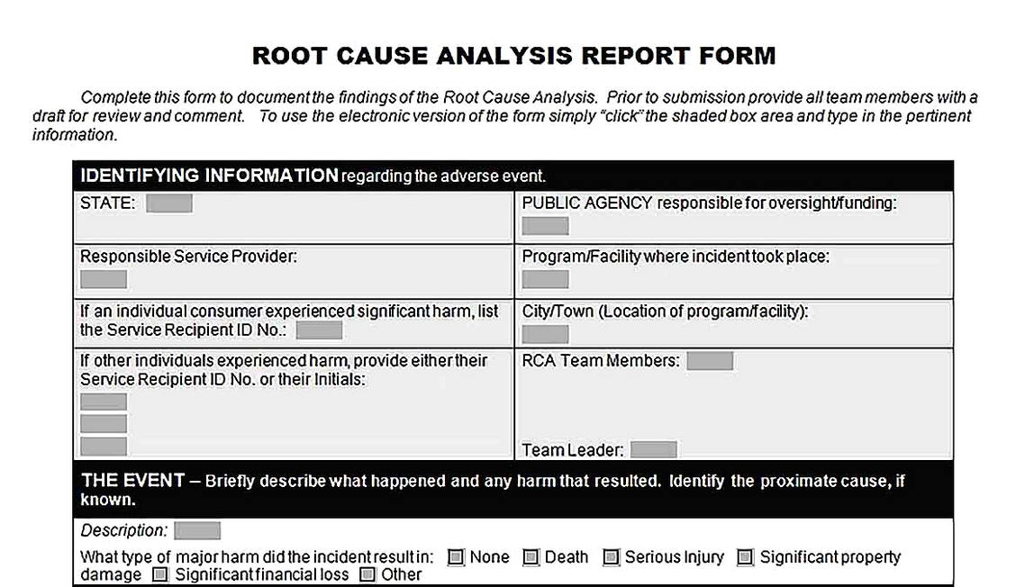 Templates for Root Cause Analysis Report Form Sample