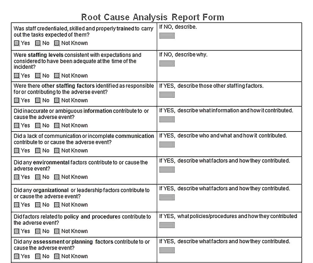 Templates for Root Cause Analysis Report Form4 Sample