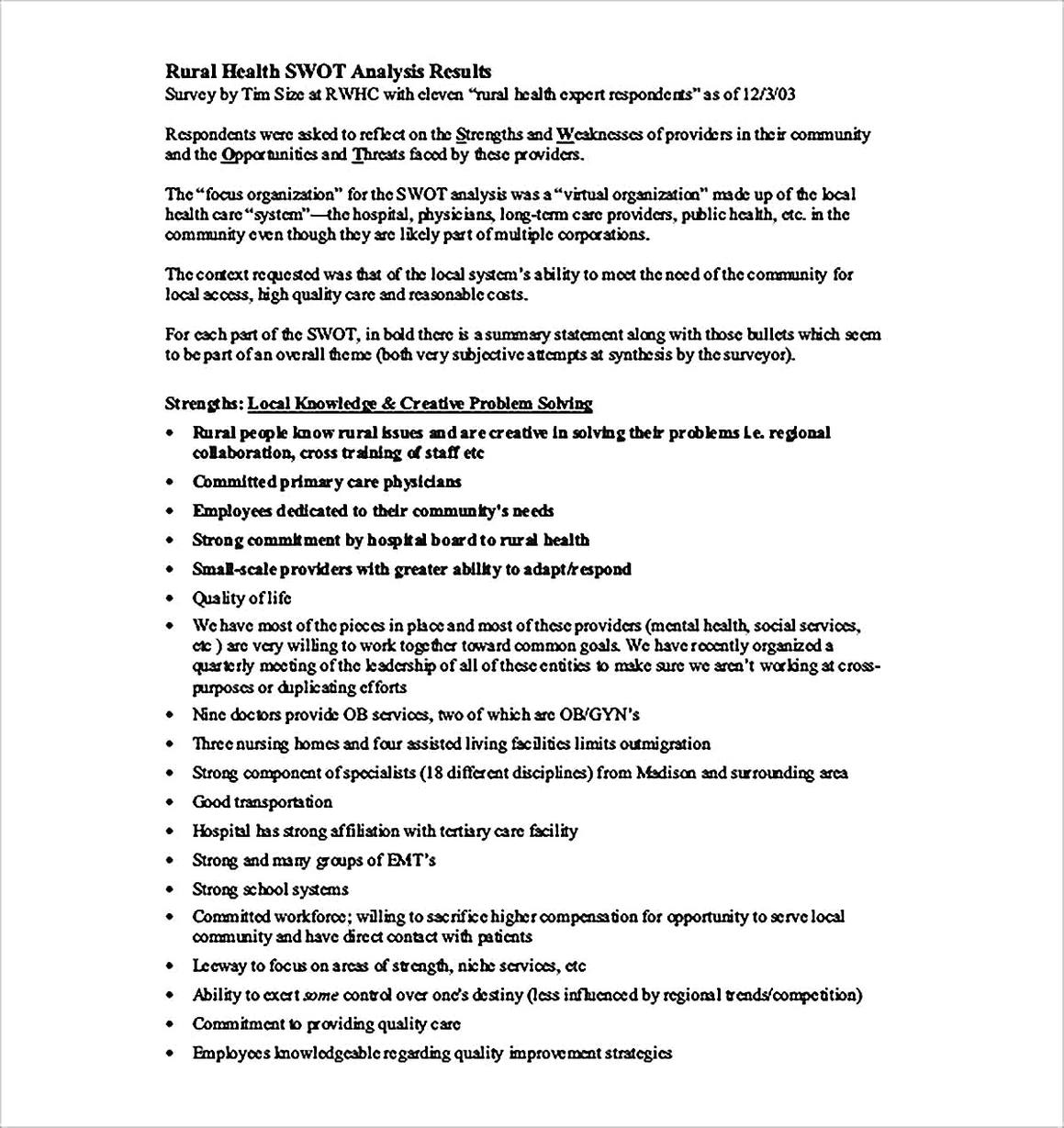 Templates for Rural Health SWOT Analysis Sample