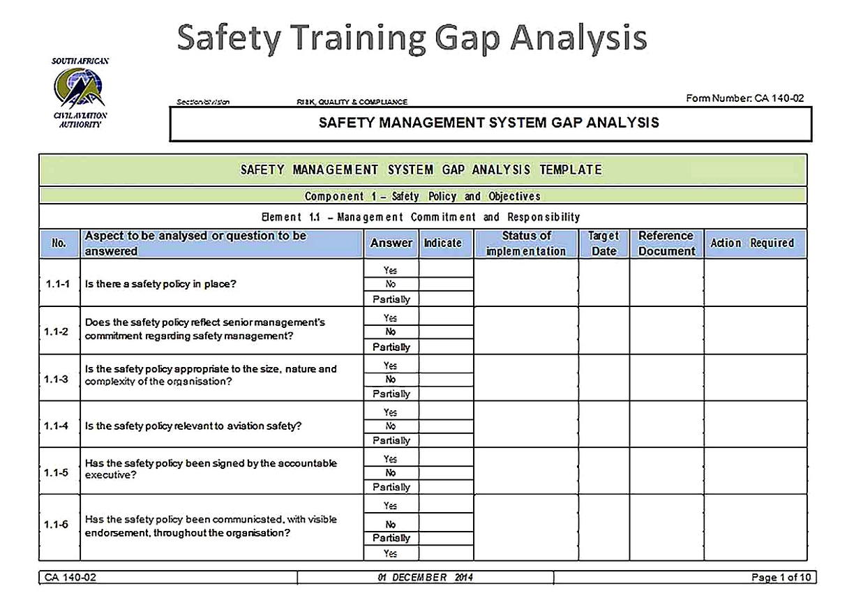 Templates for Safety Training Gap Analysis Sample 1