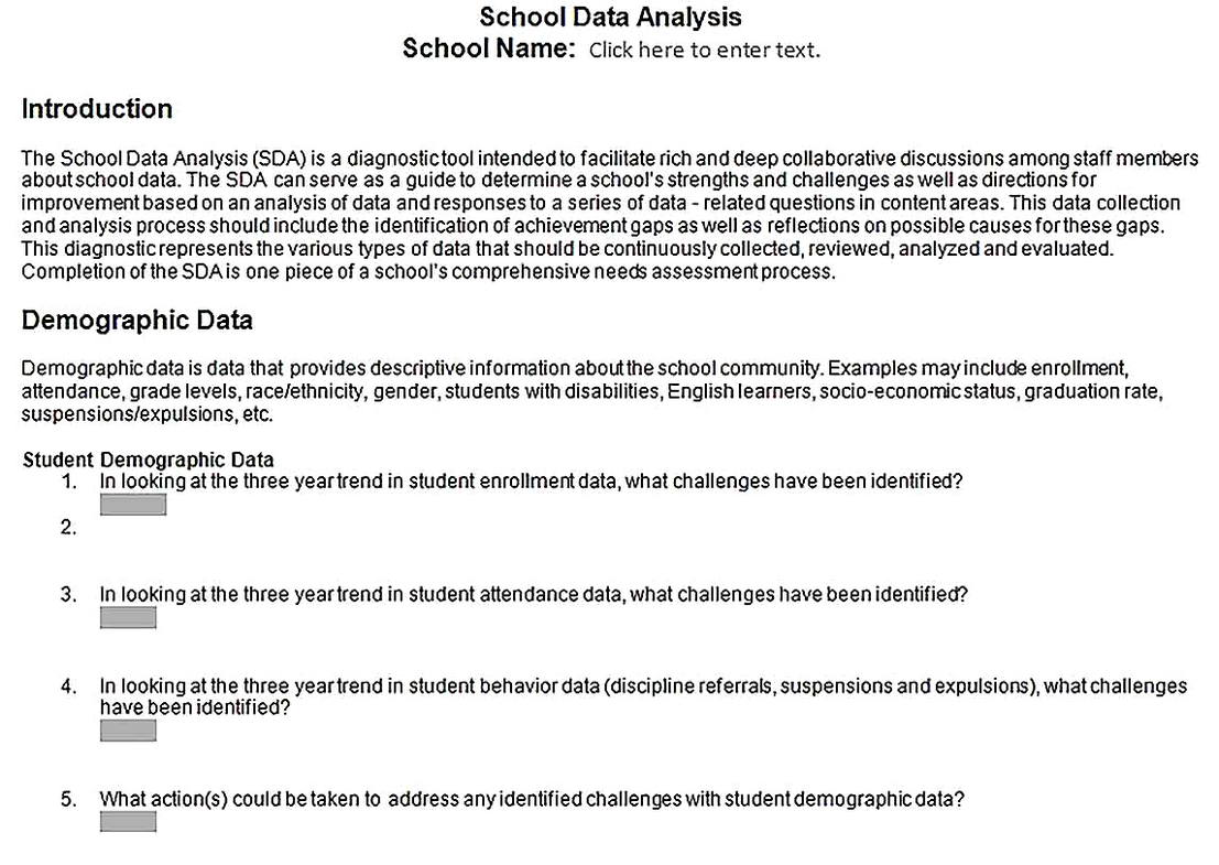 Templates for School Data Analysis Word Format Sample