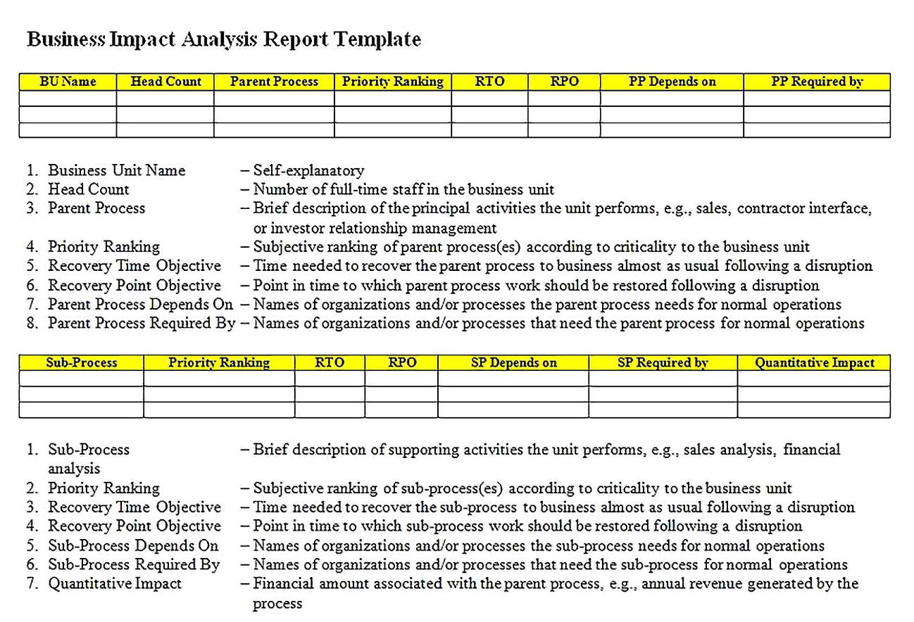 Templates for Search Disaster Recovery Business Impact Analysis Report Sample