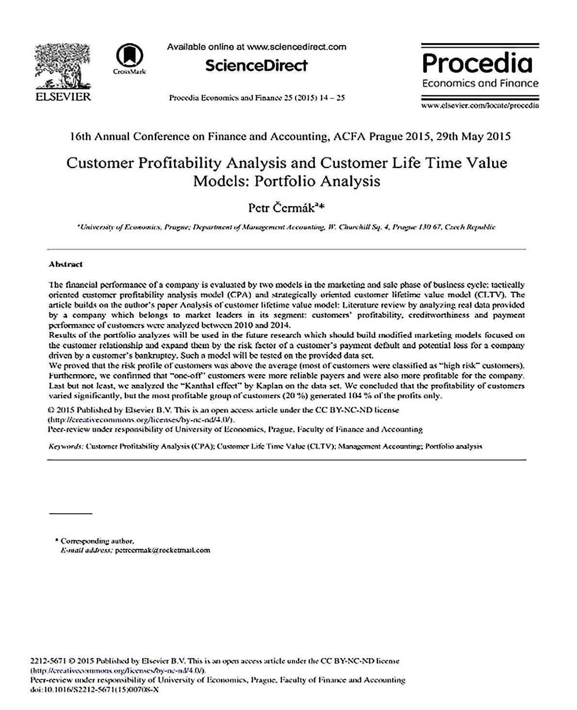 Templates for Simple Customer Profitability Analysis 1 Sample