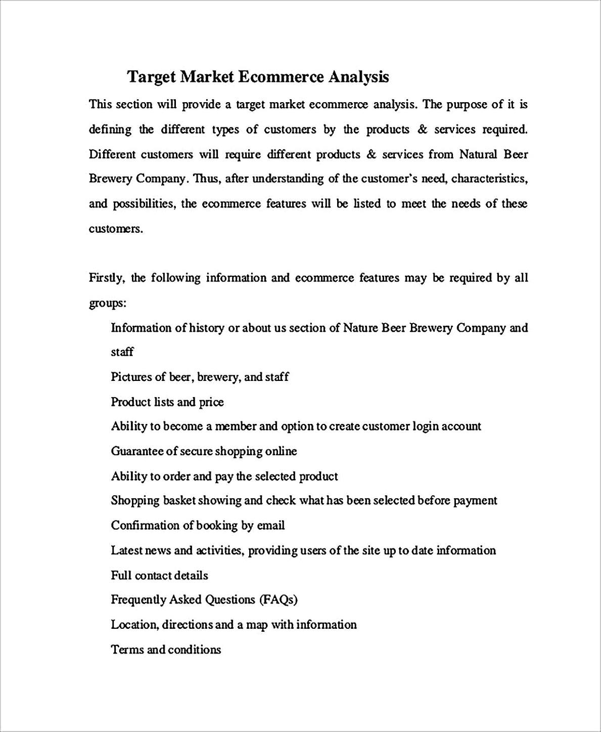 Templates for Target Market Ecommerce Analysis Sample