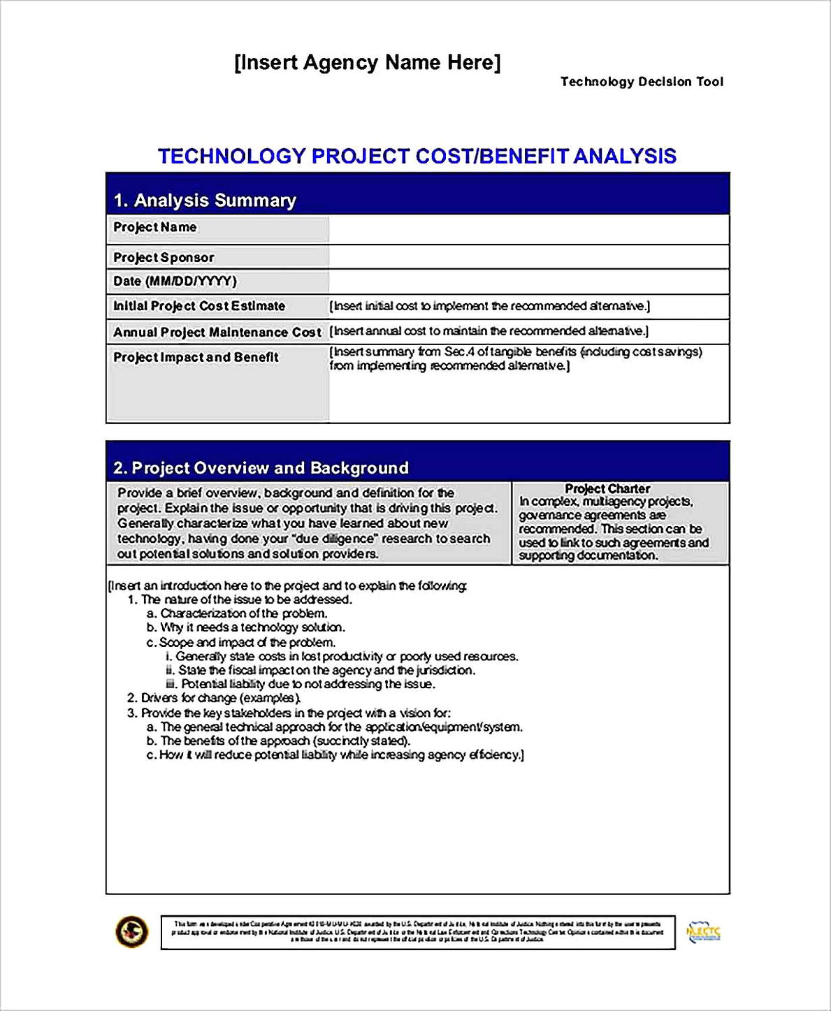Templates for Technology Project Cost Benefit Analysis Sample