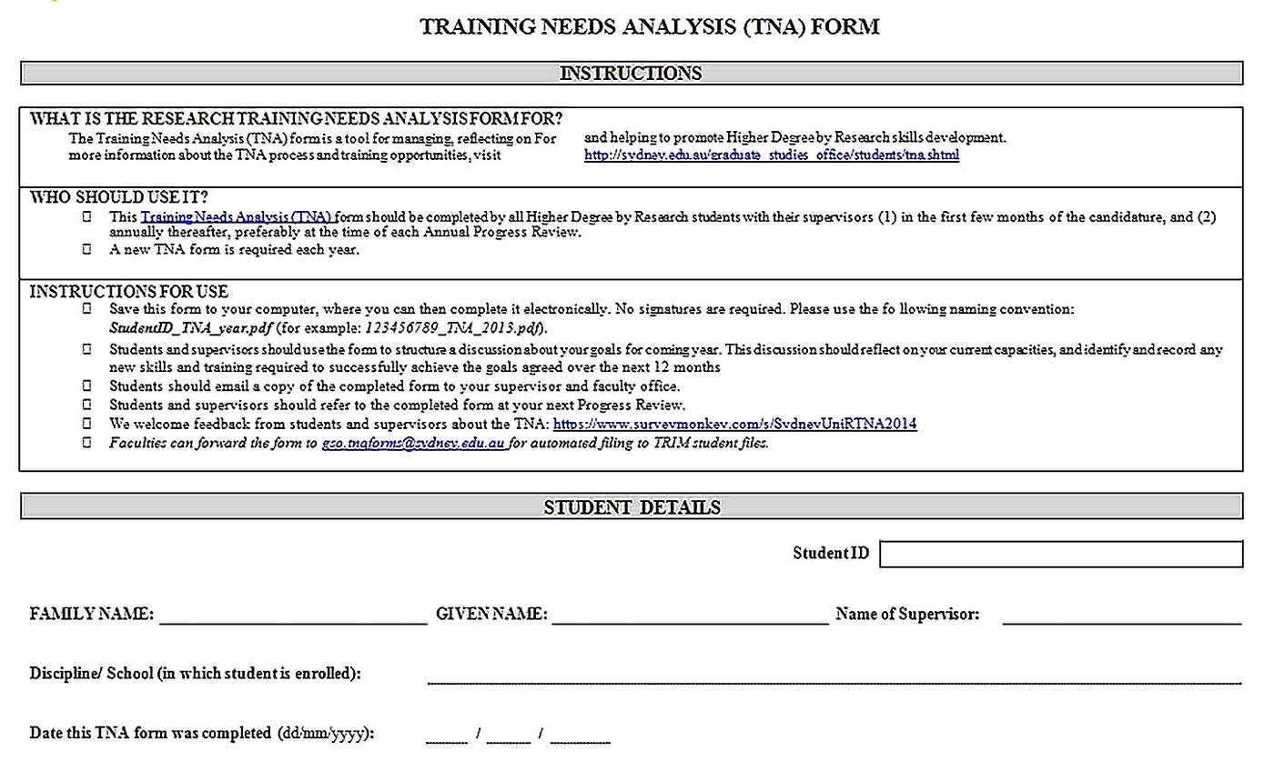 Templates for Training Needs Analysis Form Sample 001