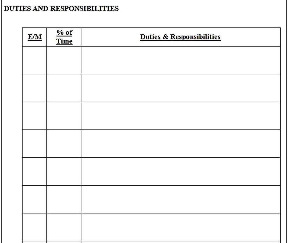 Templates for job analysis questionnaire 2 Sample