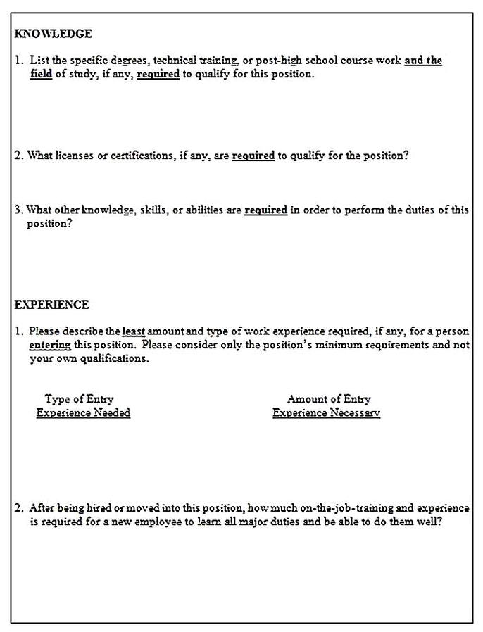 Templates for job analysis questionnaire 3 Sample