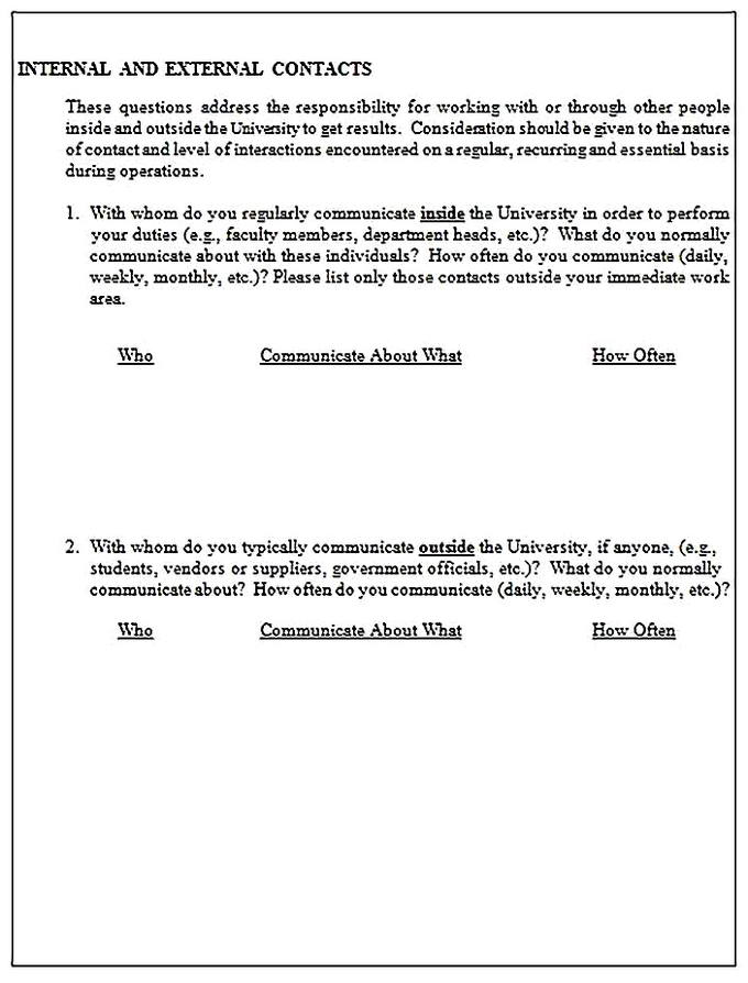 Templates for job analysis questionnaire 6 Sample