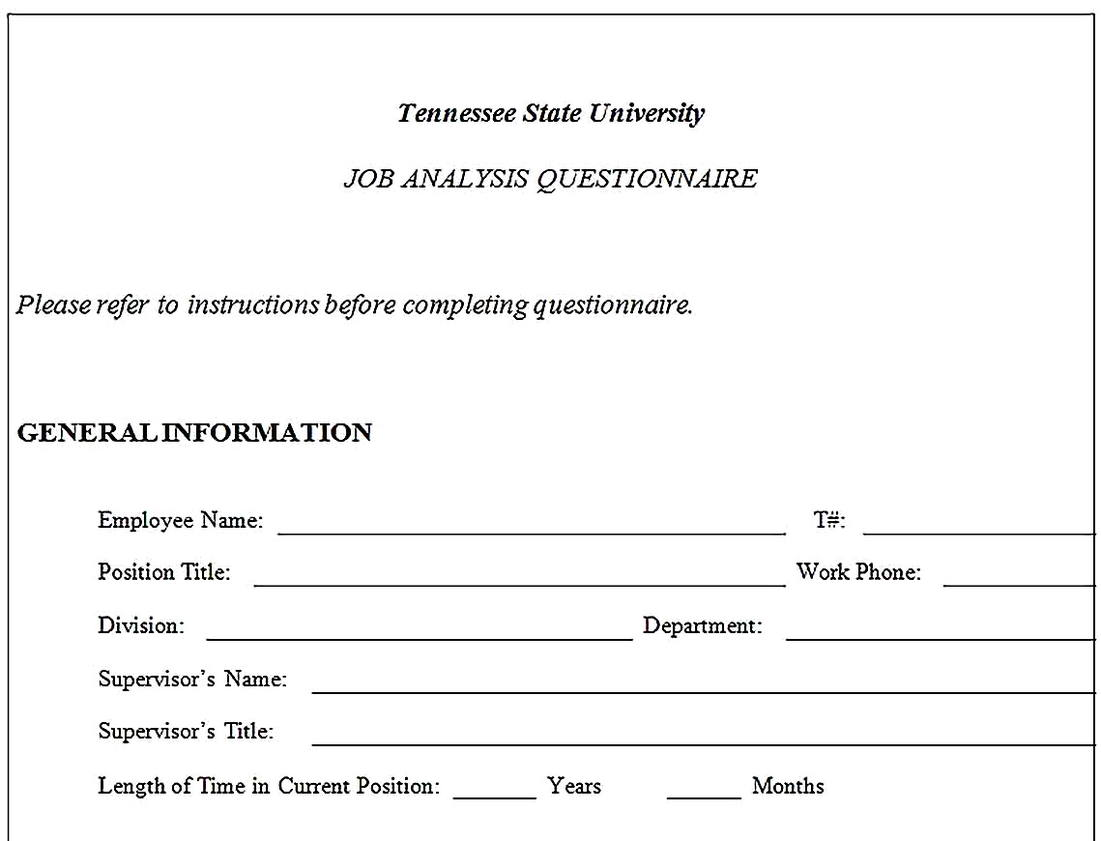 Templates for job analysis questionnaire Sample