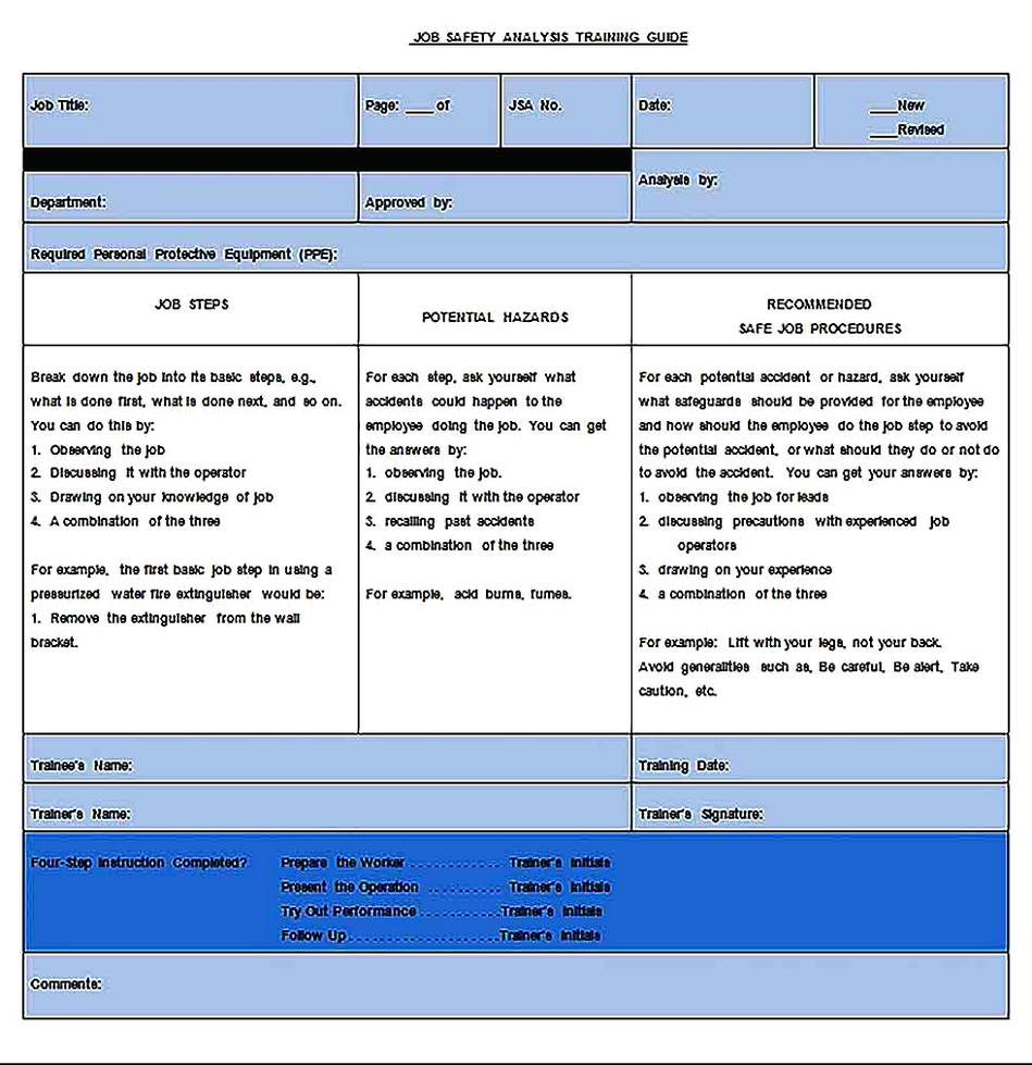 Templates for job safety analysis 2 Sample