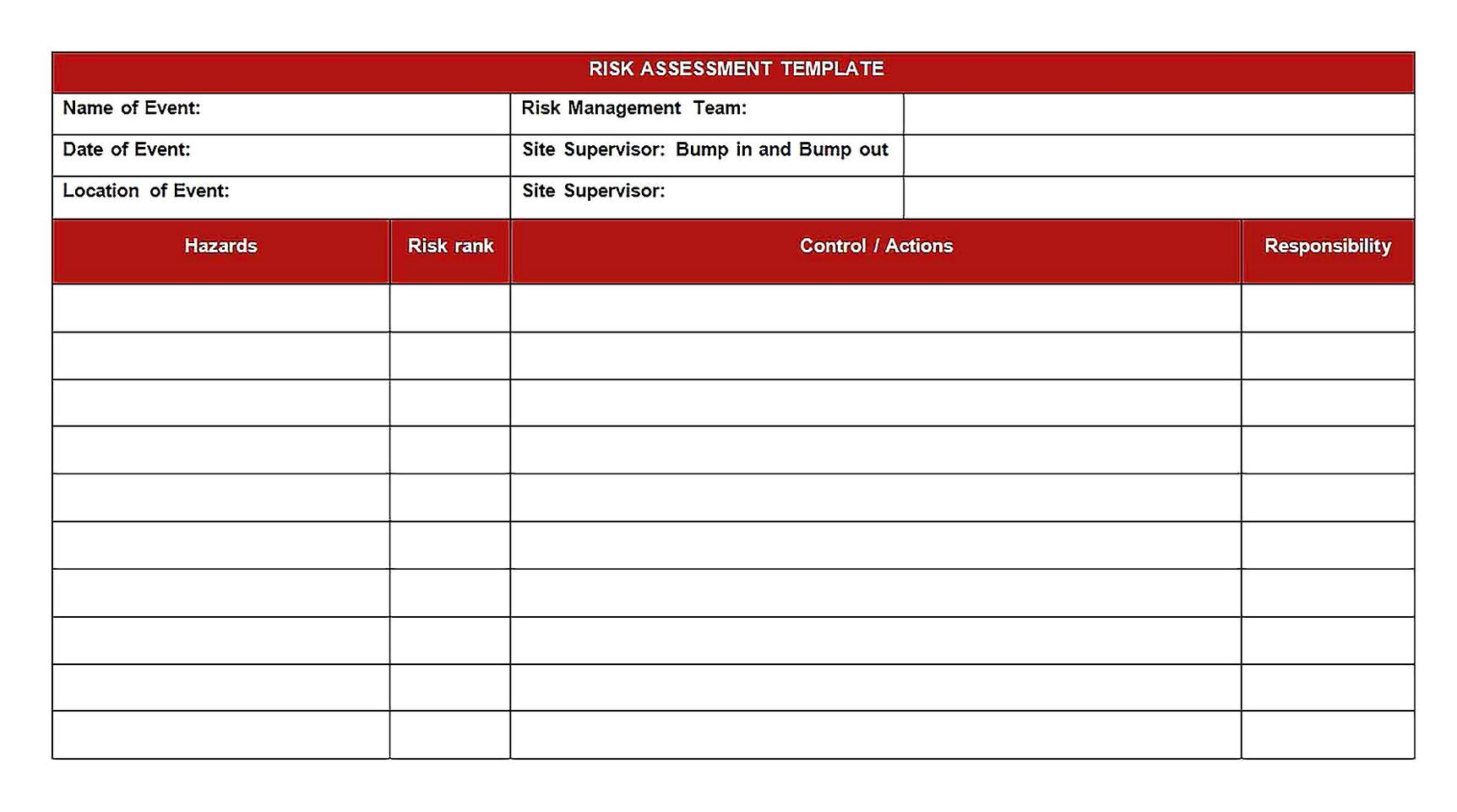 Templates for risk assessment and free1 Sample