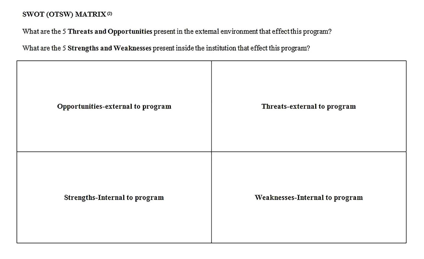 Templates for swot analysis report in word Sample