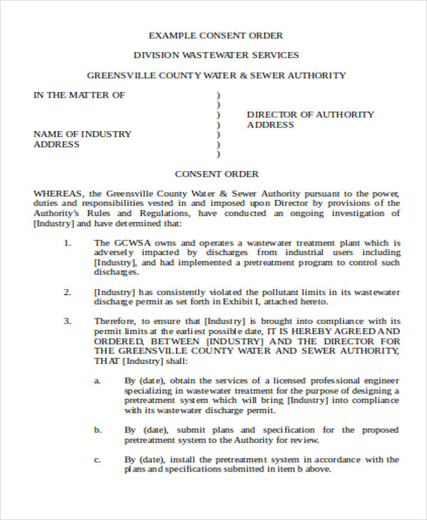 Templates of Consent Order Example