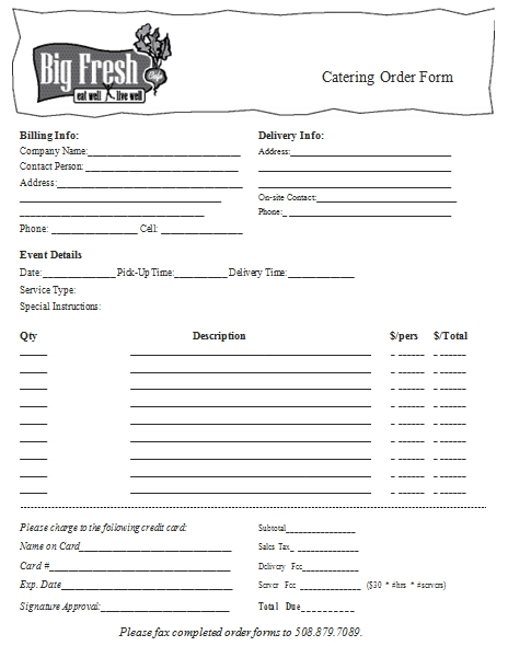 Templates to Catering Order Form Example