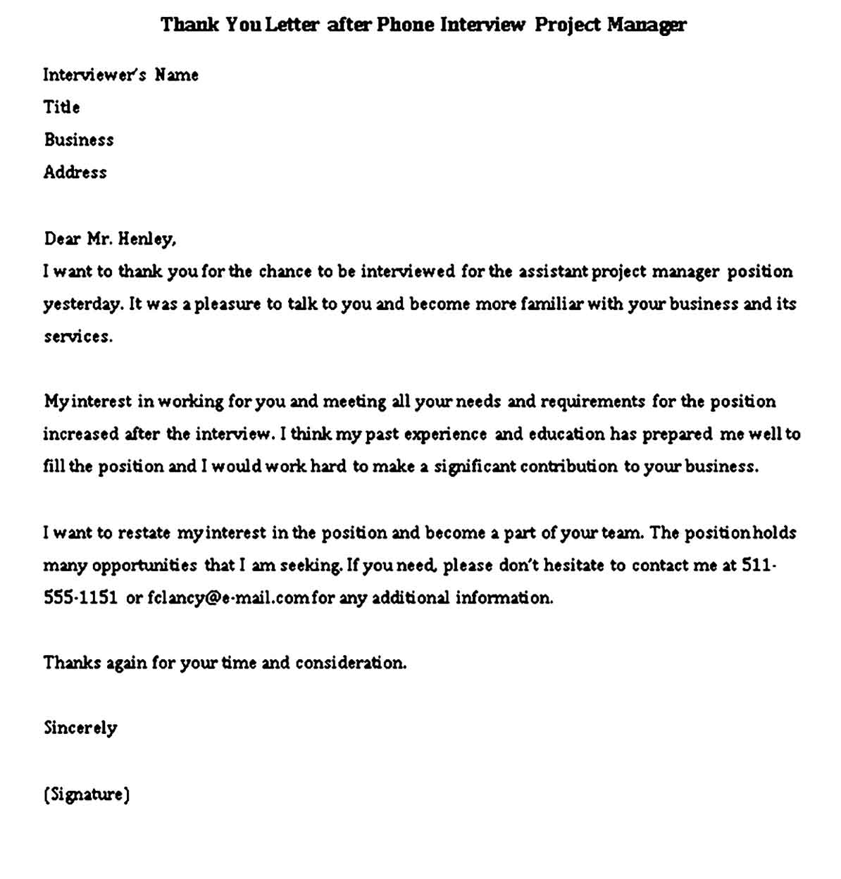 Thank You Letter after Phone Interview Project Manager