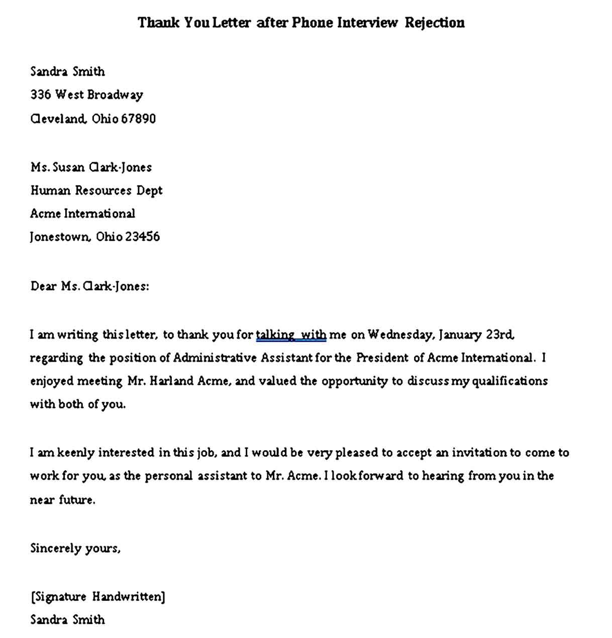 Thank You Letter after Phone Interview Rejection