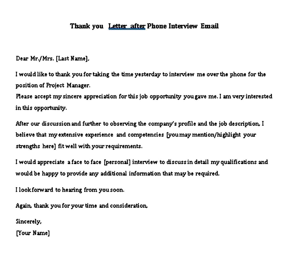 Thank you Letter after Phone Interview Email
