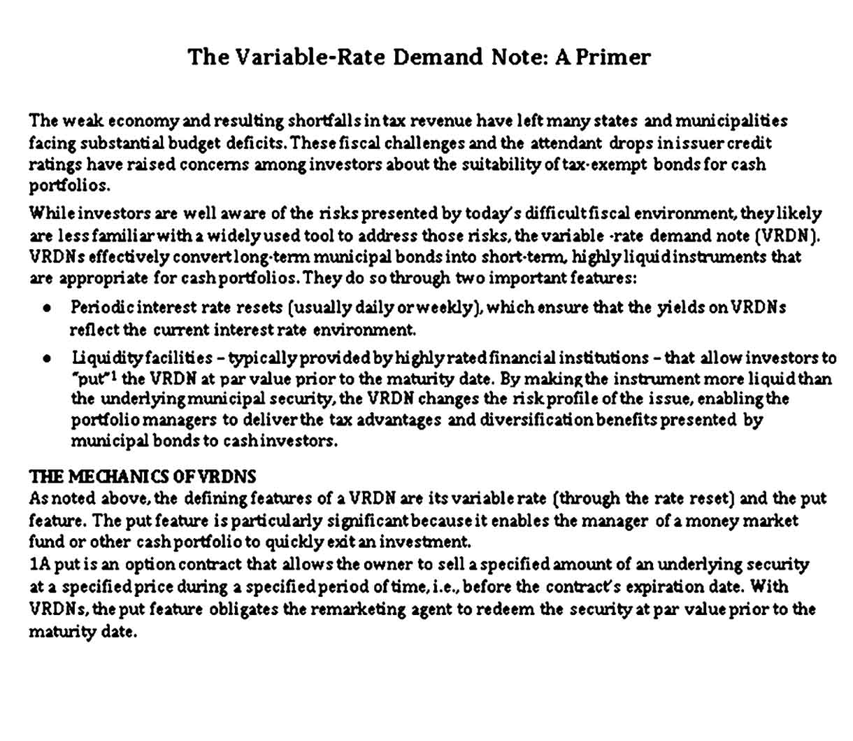 Variable Rate Demand Note Free PDF Download
