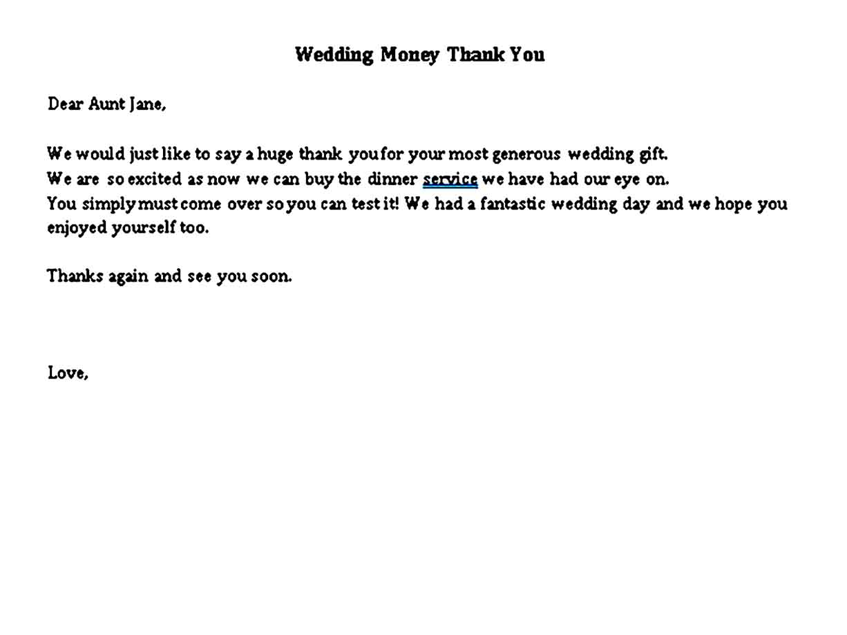 Wedding Money Thank You Note
