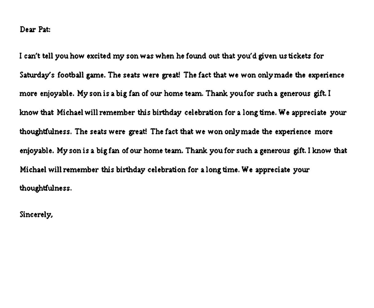 business thank you note for gift
