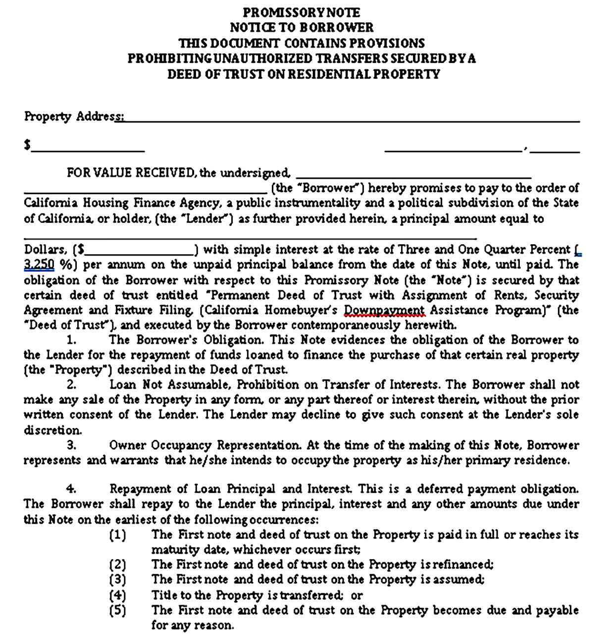 california secured promissory note form