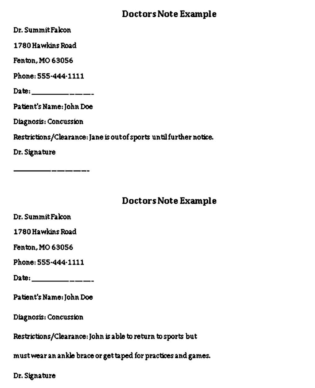 doctors note template example