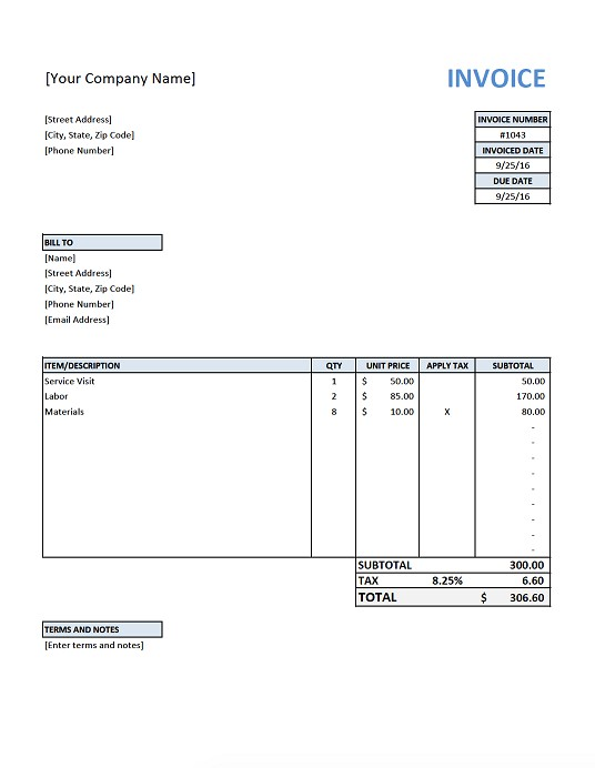 flat gardening care a4 invoice