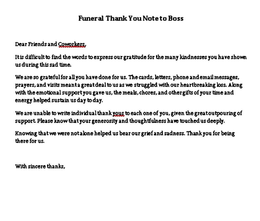 funeral thank you note to boss