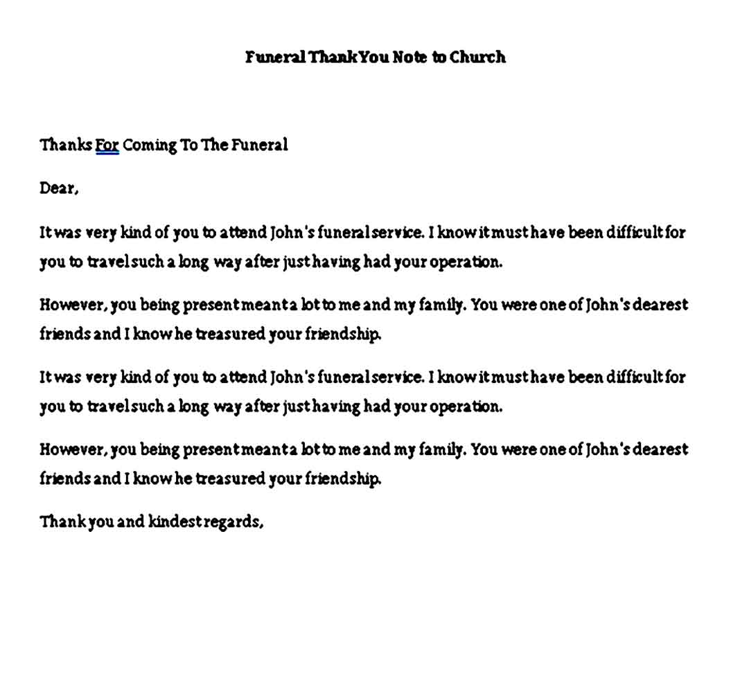 funeral thank you note to church