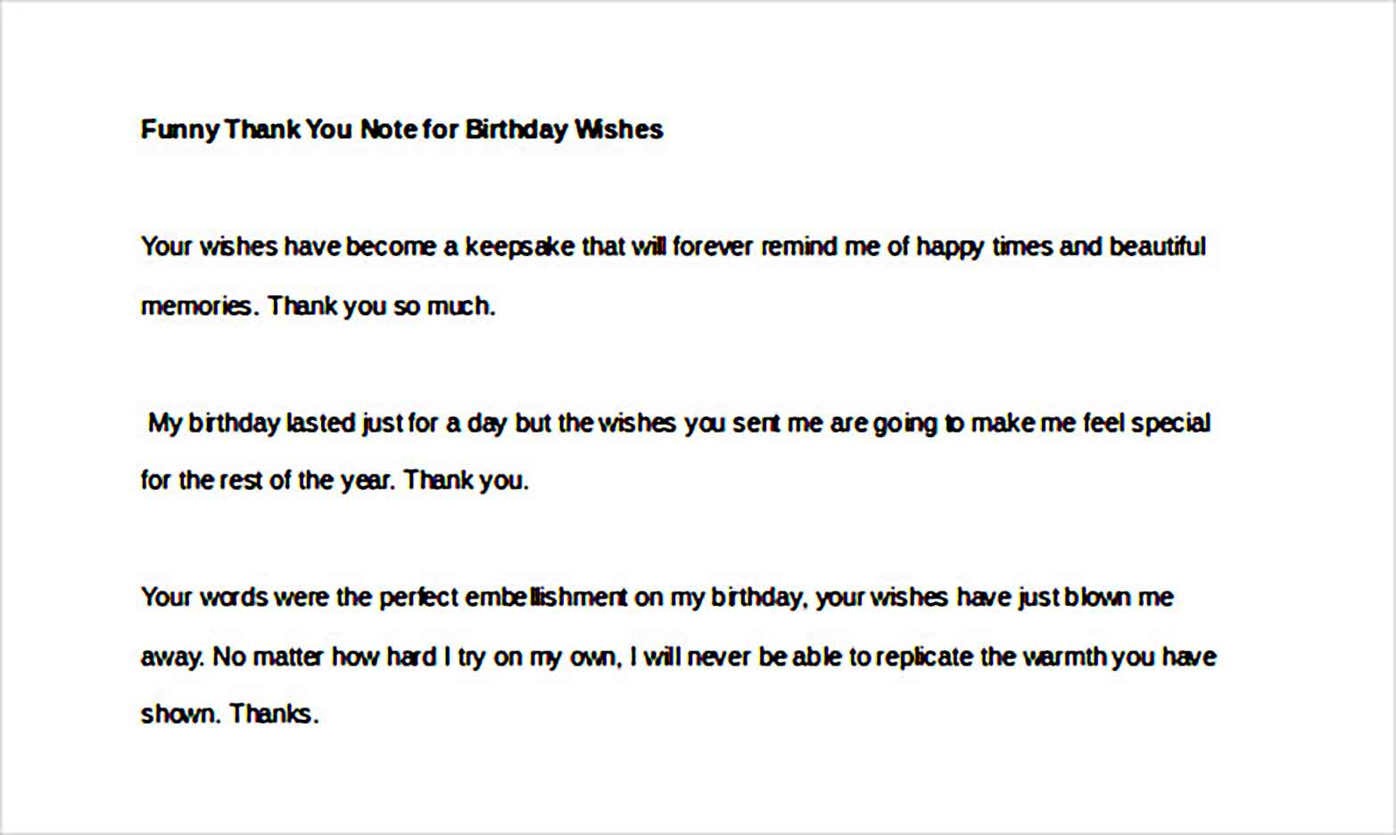 funny thank you note for birthday wishes