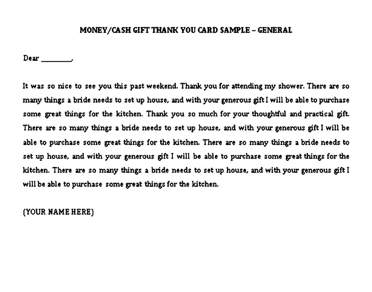 graduation thank you note examples for money