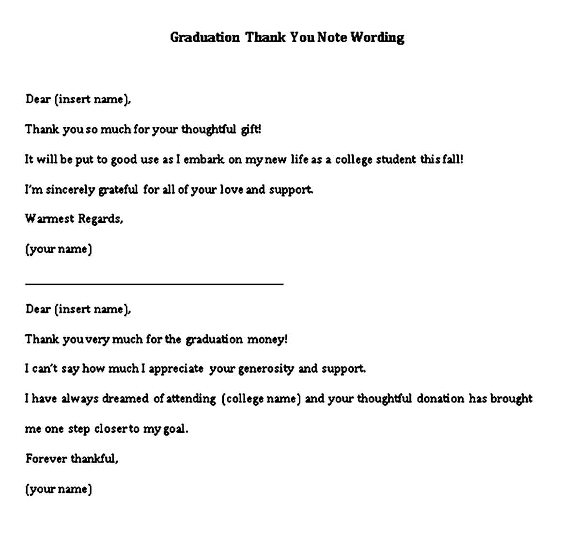 graduation thank you note wording