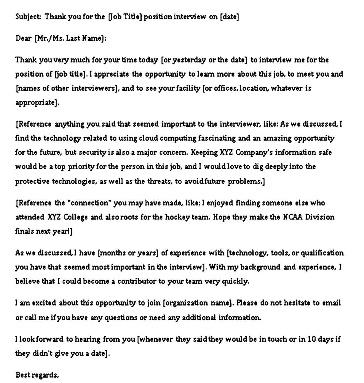 interview thank you note email