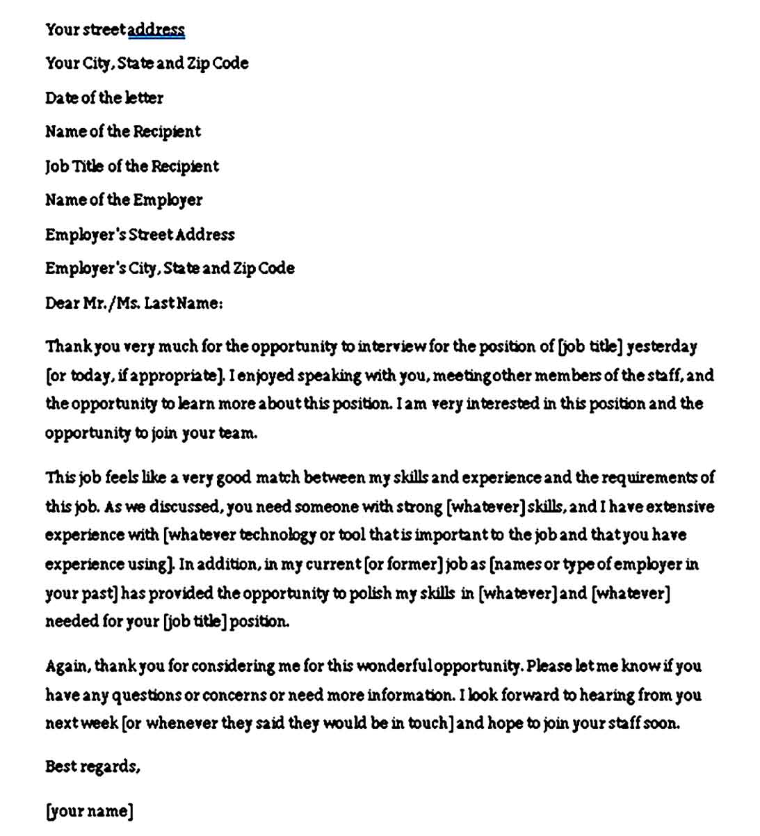 job interview thank you note